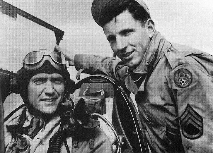 1st Lt. Gilbert W. Hunt with his Crew Chief Donald L. Groomer.