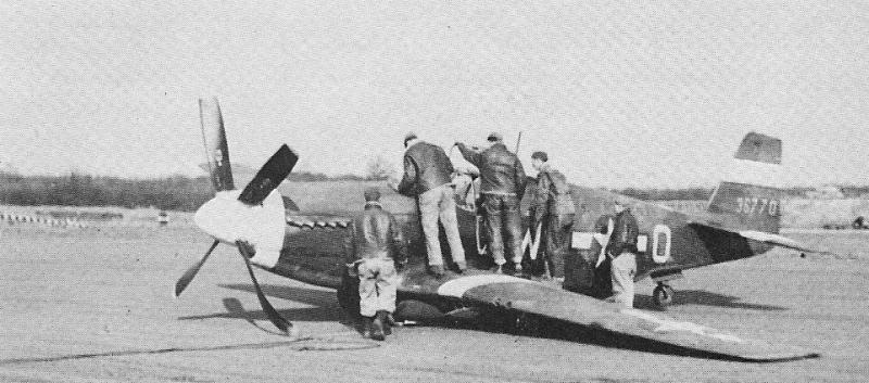 (then) Lt. Albert L. Schlegel's P-51 Mustang WD-O, Serial No. 43-6770, suffered landing gear collapse on returning from the 4th fighter Group's first escort mission to Berlin, 4 March 1944.