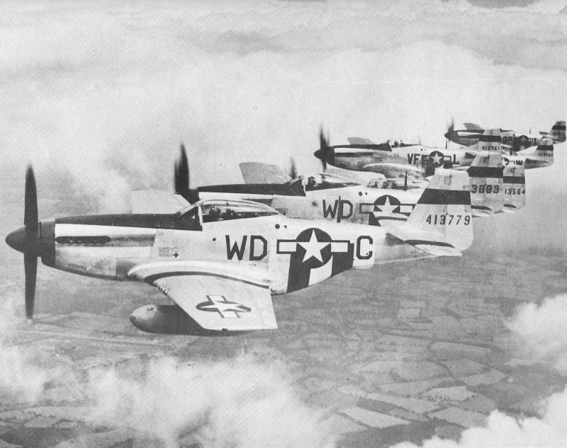 Colonel Donald Blakeslee is leading a formation of 335th, 336th and 334th Fighter Squadron P-51 D models.