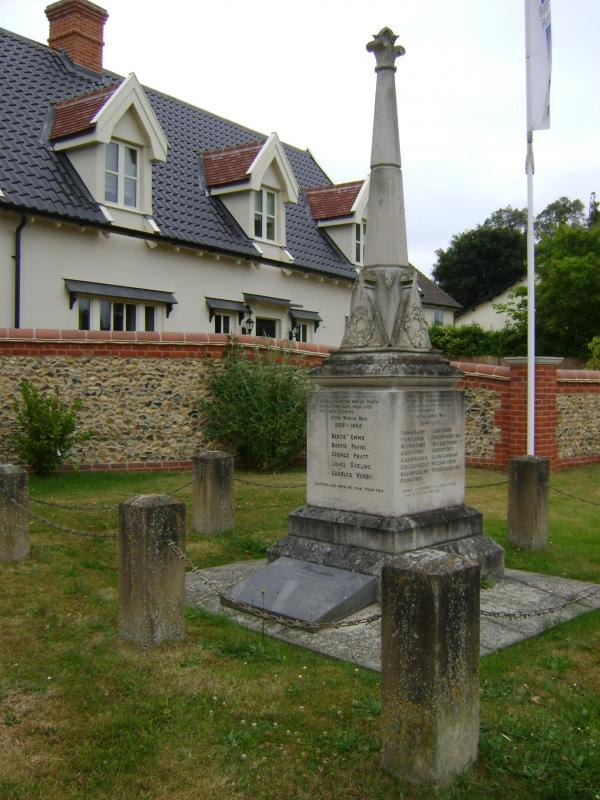 At the base of the war memorial in North Lopham, Norfolk, is a memorial to two USAAF crews. Their planes collided over the village on 29 January 1945. The stone is in very poor condition, and the names can hardly be read; ironic, when the last statement on the stone is,