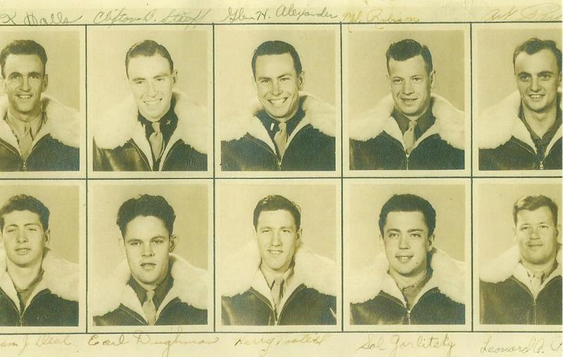 Crew # 647 & 460 Glen H. Alexander Crew 466th BG - 786th and 784th Bomb Squadrons  Top Row Left to Right:  Lowell K. Halls (B), Clifton B. Stauff (N), Glen H. Alexander (P), Melvin Robison (TG), Arthur M. Parks (R/O) Bottom Row Left to Right:  William J. Deal (TT), Earl Daughman (G), Harry Tootell (FE), Sol Gorlitsky (G), Leonard A. Pierce (CP)  This crew was lead by Alexander for 14 missions.  Alexander was then promoted to a squadron staff position and R.C. Moore took over and lead them from 30 October 1944 on.