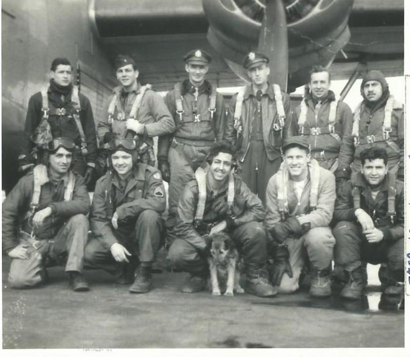 Crew #769/487 Richard J. Farrington Crew 466th BG - 784th and 787th Bomb Squadrons  Standing Left to Right:  John C. Murphy (RN), John A. Perella (N), John A. Regan (CP), Richard J. Farrington (P), George E. Noe (PN), Chris Manners (B)  Kneeling Left to Right:  Robert E. Peterson (TG), John C. Brennan (WG), Jerome Barrett (FE), Howard G. Goodner (R/O), Albert Seraydarian (G)  This was the last 466th BG and indeed the last 8th AF B-24 crew shot down in WW2.    Manners and Seraydarian were able to bail out.  Everyone else in the photo above was KIA.