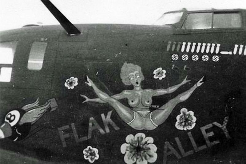 B-24 #4124225 'Flak Alley' a survivor of 1st Aug 43 Ploesti raid. Lost 24 Feb 44 on her 42nd mission. Crashed in a small village south of Gotha. Pilot Lt Phillip W Bell, 4 POW, 6 KIA. MACR 2922.
