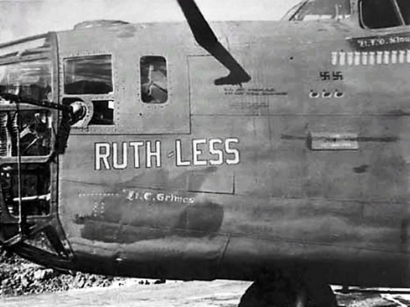 B-24 Liberator #4124282 'Ruth-Less' a survivor of 1st Aug 43 Ploesti raid. Lost on raid on V1 rocket launching ramps at Pas-de-Calais, France. Shortly after dropping their bombs, the bomber received flak damage to the # 3 and # 4 engines (both engines on the starboard wing).  Not possible to make base and while attempting to find a landing area in poor weather, A/C crashed into a hill above Eastbourne, killing all crew. 10 KIA. Pilot 1st Lt James O Bolin. MACR 6385.