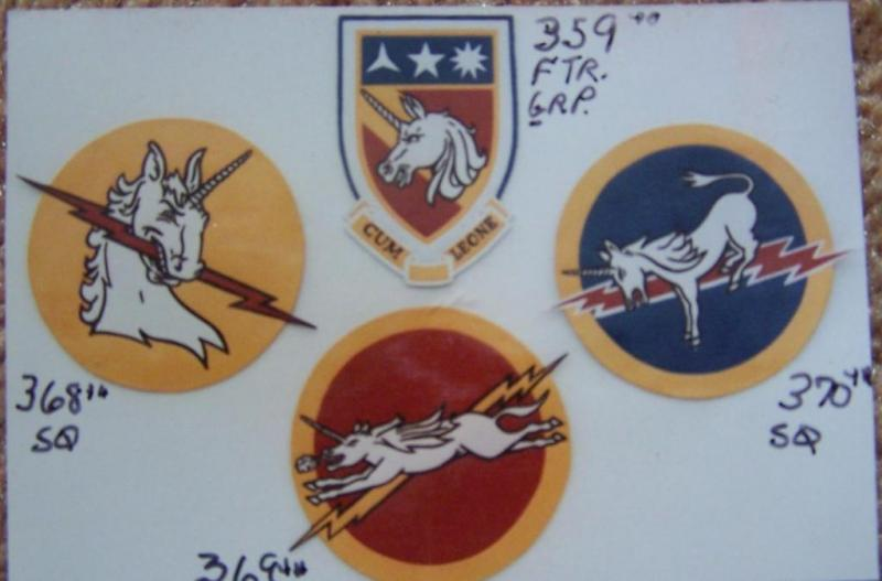 359th Fighter Group and Squadrons' 368th, 369th & 370th (left to right ) ( leather patches)