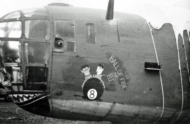 The B-24D Liberator,  42-40128,  Ball of Fire III  -  War Baby.  Veteran of the  Ploesti mission. 1st Aug 43.   Lost on her final mission,  damaged by attacking ME-109s after the Hjeller-Oslo, Norway, mission.   18 Nov 43,