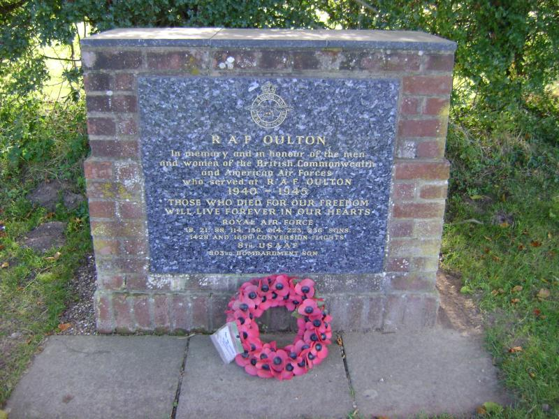 Memorial at the north end of Oulton Street, remembers RAF and 8th USAAF