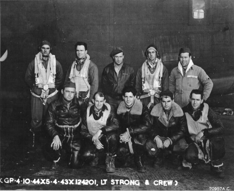 B-24 Liberator #4124201 'Baldy and his Brood' of the 506th BS, 44th BG, 8th AF, flew on the 1st Aug 43 Ploesti raid, returning safely to Libya. (**** There may be an error here. It is not evident that this aircraft is 41-24201. This is not  the crew who flew in 41-24201 on the Ploesti raid according to the SORTIE REPORT).  Kneeling (L-R): S/Sgt. Lemuel B Fleming - L Waist Gun,  2nd Lt. William H Strong - Pilot,  2nd Lt. Lyle S. Davenport - CoPilot 2nd Lt. Thomas A. Flaherty - Bombardier,  2nd Lt. David E. McCash - Navigator Standing (L-R): S/Sgt. Warren E. Morrison - Tail Gun,  Sgt. Oliver R. Germann - Belly Gun,  T/Sgt. Clarence W. Nelson - Radio Operator S/Sgt. Elwood W. Harbison,Jr. - Right Waist Gun,   T/Sgt. Edgar O. Hamel - Engineer/Top Turret Gun