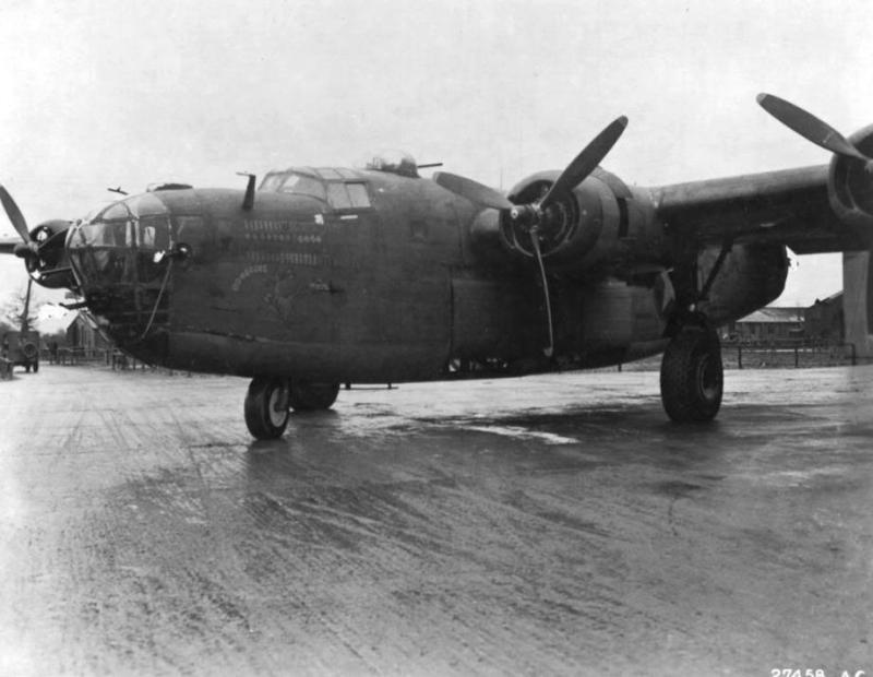 B-24D Liberator #41-23722 'Bomerang' (coded GO-C) of the 328th BS, 93rd BG. First 8th AF Liberator to complete 50 missions. Survivor of the large raid on the Ploesti oil refinery complex. Returned safely to base.     Aug 1, 1943