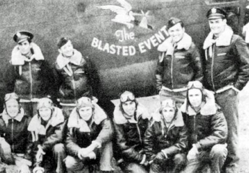 93rd Bomb Group crew in front of B-24 Liberator #41-23682 'The Blasted Event'.  Standing left to right: Lts McDonald, Barthel, Walker, Brown Kneeling left to right: S/Sgts Ross, Musser, Treadway, Adelsberger, Musco, Gilbert.