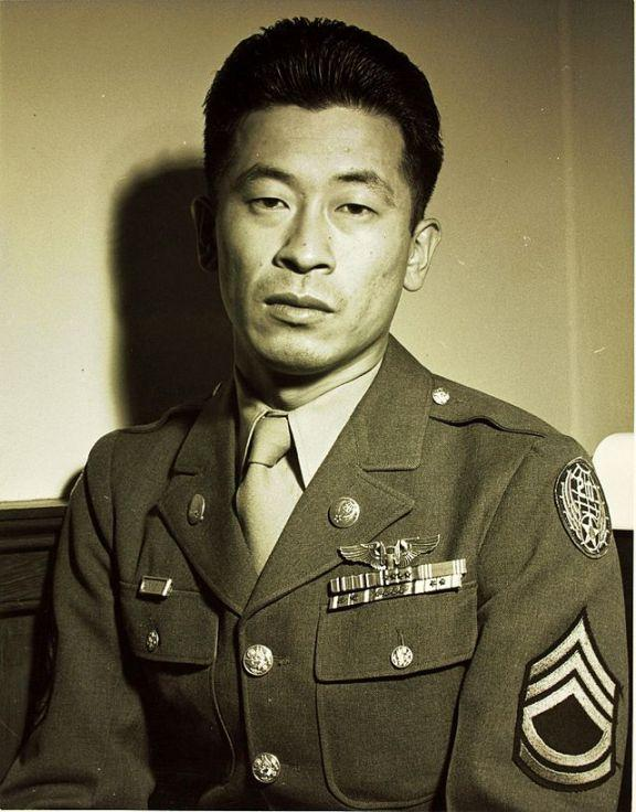 Technical Sergeant Ben Kuroki with Distinguished Service Medal, Distinguished Flying Cross (×3) and Air Medal with oak leaf clusters (×5)