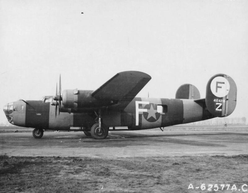 B-24 Liberator #41-24215 'Dogpatch Raider' a war weary B-24 re-tasked as a high visibility formation assembly ship for the 445th BG. Was originally a 409th BS, 93rd BG, 8th AF plane named 'Lucky' which too part in 1st Aug 43 Ploesti raid.