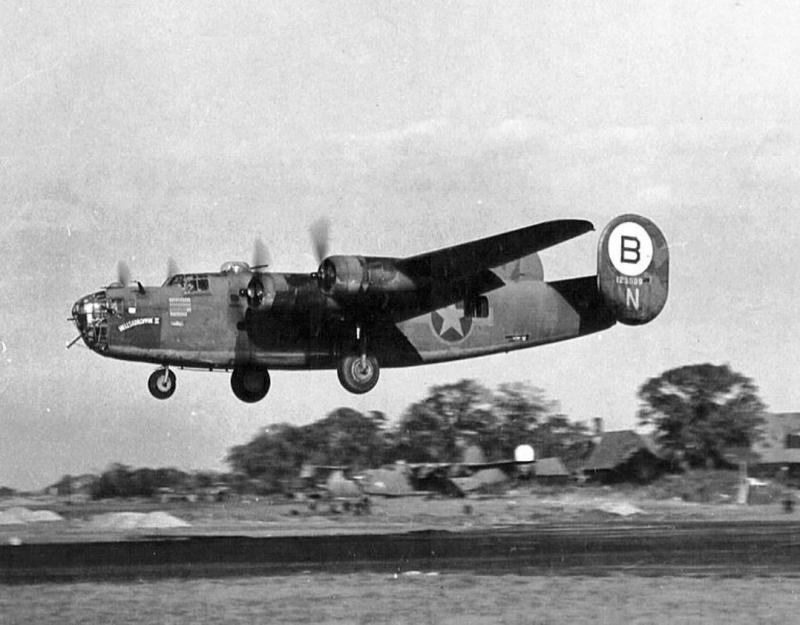 B-24 Liberator #41-23809  -   ' HELLSADROPPIN II'  -   329th Bomb Squadron, 93rd Bomb Group, coming in to land.   ' HELLSADROPPIN '  flew on the bombing  raid and to Ploesti, Romania, and later became a high visibility formation ship with 448th Bomb Group, 8th Air Force in Britain in 1944.