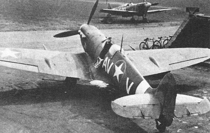 Sitting in its revetment at Debden in February 1943 is Spitfire Mk Vb AV-V, Serial No. BM309, of the 335th Fighter Squadron. On 22 January it had been used by 2nd Lt. Robert A. Boock to destroy an Fw 190 northwest of Dunkirk in the 4th Fighter Group's last big engagement with the Spitfire.