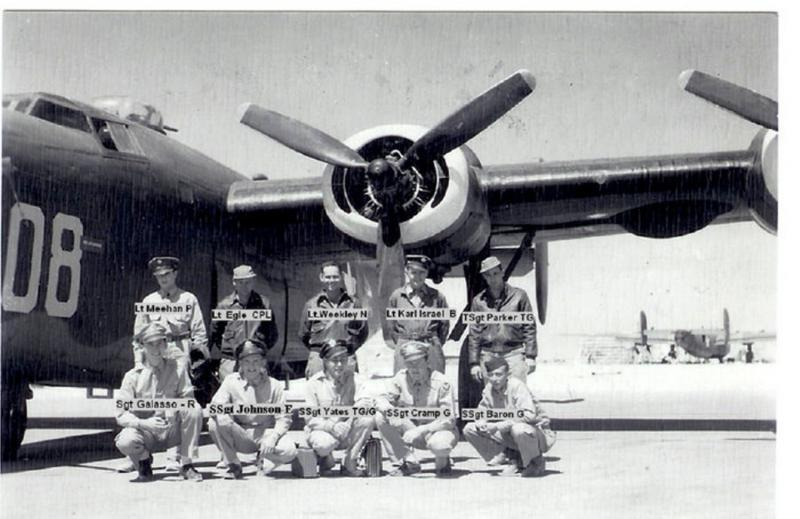 Lt. P Meehan's crew gathered for a team photo in front of one of the training ships stateside, prior to shipping over to the ETO. All bar one of Lt. P Meehan's crew were KIA at Ploesti, Rumania 1st Aug 43 in B-24 #42-40804 'The Lady Jane' / 'Bertha'.