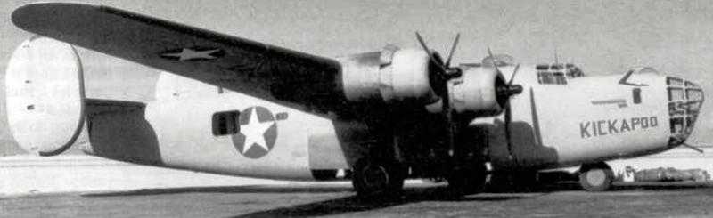 B-24 Liberator #41-11768 'Kickapoo' of 344th BS, 98th BG, 9th AF. Crashed shortly after take-off for the August 1, 1943 low level Ploesti, Romania mission, initially due to loss of No 4 engine. 8 KIA , including pilots, Lt. Robert J. Nespor and Lt. John C. Riley / 2 WIA.