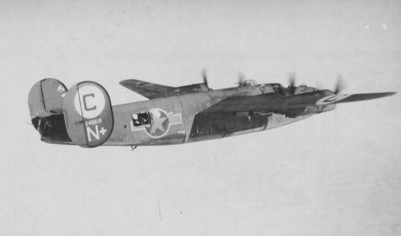 Consolidated B-24D-80-CO Liberator Bomber 'N+' #42-40619 of the 566th BS, 389th BG, 8th AF. Participated in the 1st Aug 43 low-level Ploesti, Romania mission. Lost on 24th Feb 44 mission to bomb aircraft factories in Gotha, Germany. 3 KIA, 7 POW. MACR 2938.