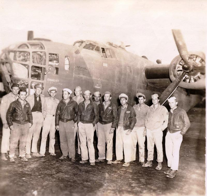 B-24 Liberator #42-40751 later named 'Touch of Texas' 567th BS, 389th BG, 8th AF and crew, flew on 1st Aug 43 Ploesti oil refinery raid piloted by William J Denton, returning safely to Libya. Pictured Lt. W Denton crew August 27, 1943.
