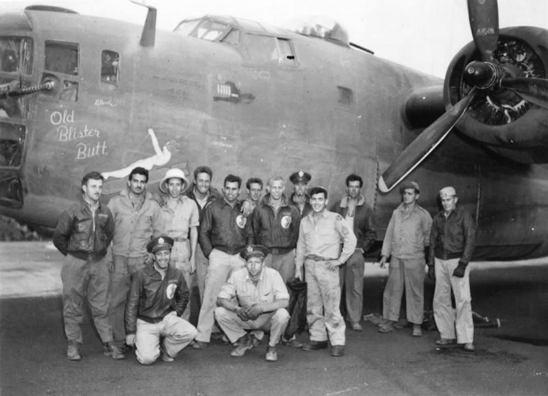 B-24 Liberator #42-40776 'Old Blister Butt' 564th BS, 389th BG, 8th AF, pilot Robert L Wright and crew. Flew on 1st Aug 43 Ploesti oil refinery raid, returning safely to Libya. Probably taken in the days after the 1/8/43 raid, note the last bomb in the mission tally is laid on its side, this is the Ploesti mission marker, as they flew so low, they laid it on the target rather than dropped it !!