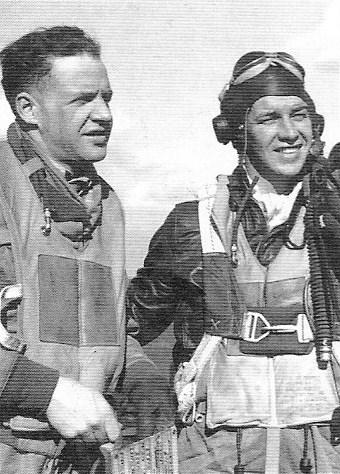 Capt. Kenneth G. Smith (left) and 1st Lt. Edward P. Freeburger of the 335th Fighter Squadron. Smith became a PoW on 21 March 1944 when his Mustang was one of seven downed by German flak in the Bordeaux region of France during a four-hour long strafing mission of enemy airfields in the area. Three days earlier, he had been flying with Freeburger as his wingman when the latter was shot shot down and killed by Fw 190s near Nancy.