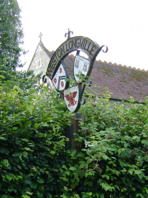 Weston Longville village sign, resented to the people of the village by the 466th Bomb Group in 1977.