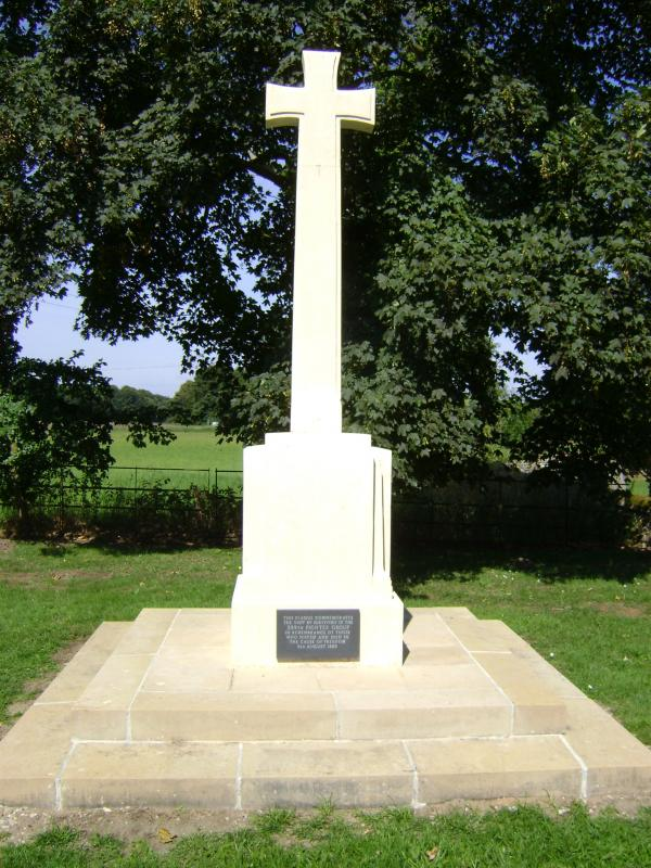 Memorial placed at St Ethelbert, East Wrethem, by survivors of the 359th Fighter Group in 1985.