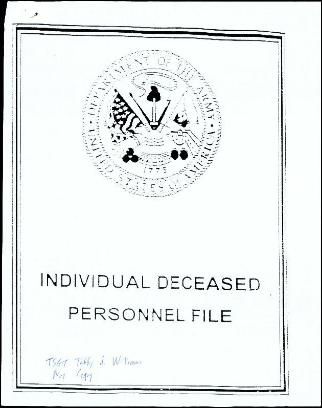 Extract from Individual Deceased Personnel File (IDPF) for Technical Sergeant Taffy J Williams of the 389th Bomb Group researched by historian Bill Beigel. The file contains copies of primary documents that discuss the return of personal effects, circumstances and causes of death, and memorialisation of the fallen airman.    If you require access to the full, unedited file please contact Bill Beigel via his website, www.ww2research.com, or the AAM Team at aamwebsite@iwm.org.uk