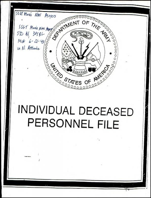 Individual Deceased Personnel File (IDPF) for Staff Sergeant Morris Meyers of the 385th Bomb Group researched by historian Bill Beigel. The file contains copies of primary documents that discuss the return of personal effects, circumstances and causes of death, and memorialisation of the fallen airman.