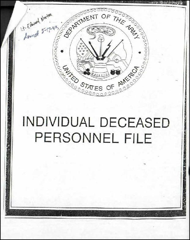 Individual Deceased Personnel File (IDPF) for Second Lieutenant Edward R Norton of the 322nd Bomb Group researched by historian Bill Beigel. The file contains copies of primary documents that discuss the return of personal effects, circumstances and causes of death, and memorialisation of the fallen airman.