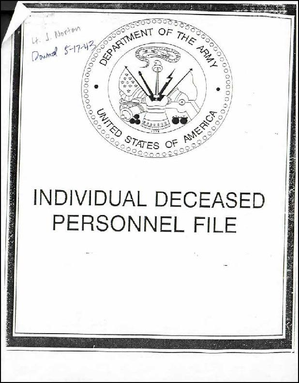 Extract from Individual Deceased Personnel File (IDPF) for Second Lieutenant James A Norton Jr of the 322nd Bomb Group researched by historian Bill Beigel. The file contains copies of primary documents that discuss the return of personal effects, circumstances and causes of death, and memorialisation of the fallen airman.    If you require access to the full, unedited file please contact Bill Beigel via his website, www.ww2research.com, or the AAM Team at aamwebsite@iwm.org.uk