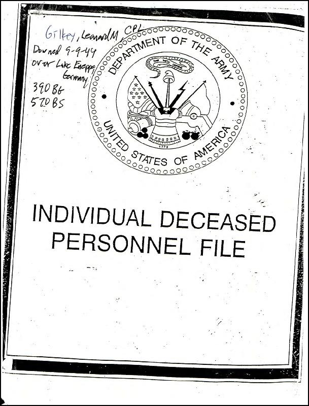 Extract from Individual Deceased Personnel File (IDPF) for Corporal Leonard M Gilkey of the 390th Bomb Group researched by historian Bill Beigel. The file contains copies of primary documents that discuss the return of personal effects, circumstances and causes of death, and memorialisation of the fallen airman.    If you require access to the full, unedited file please contact Bill Beigel via his website, www.ww2research.com, or the AAM Team at aamwebsite@iwm.org.uk