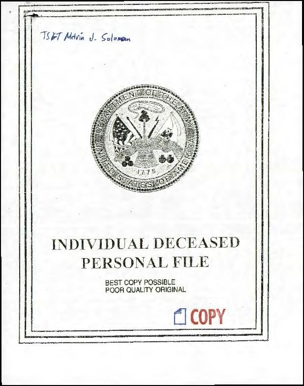 Extract from Individual Deceased Personnel File (IDPF) for Technical Sergeant Melvin J Solomon of the 446th Bomb Group researched by historian Bill Beigel. The file contains copies of primary documents that discuss the return of personal effects, circumstances and causes of death, and memorialisation of the fallen airman.    If you require access to the full, unedited file please contact Bill Beigel via his website, www.ww2research.com, or the AAM Team at aamwebsite@iwm.org.uk