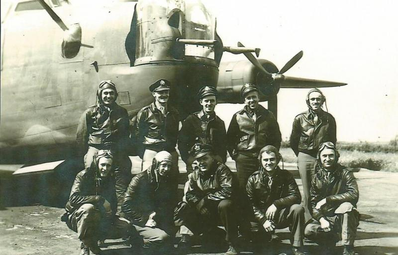 Crew #549/472 Paul W. Perry Crew 466th BG - 785th and 74th Bomb Squadrons  Standing Left to Right:  William Bento (R/O), Paul W. Perry (P), Joseph R. Kelly (CP), Lloyd K. Randolph (N), Gerald D. Camp (FE)  Kneeling Left to Right:  Jack F. Towner (G), John F. Durtsche (BTG), Oliver J. Rauch (B), Robert L. Traeger (WG) Arel A. Bye (G)  This crew was originally assigned to the 492nd BG before being transferred to the 466th BG .  Photo taken at Cuntoe, Northern Ireland