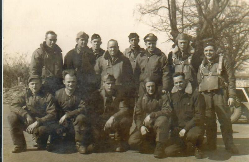 Crew #761/482 Harold E. Anderson Crew 466th BG - 787th and 784th Bomb Squadrons  Standing Left to Right:  Earl M. Hawkins (N), James M. Peters (B), James Russell (CP), Elvin Ligon (466th BG C.O.) Elmer Harrington (WG), Harold E. Anderson (P), James W. Hill (784th BS Nav.), Stanley P. Goldstein (RN)  Kneeling Left to Right:  Peter Sobin (R/O), Edwin Sjoholm (BTG), Ronald Arbaugh (FE), James Lynch (WG), Harry Landers (TG)  Flew 17 missions with the 787th BS and then transferred to the 784th BS and flew a further 14 missions as a lead crew