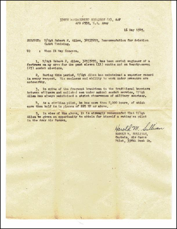 Letter of Recomendation for aviation cadet training for Robert F Allen of the 96th Bomb Group by Harold M Sullivan, 16 May 1945.