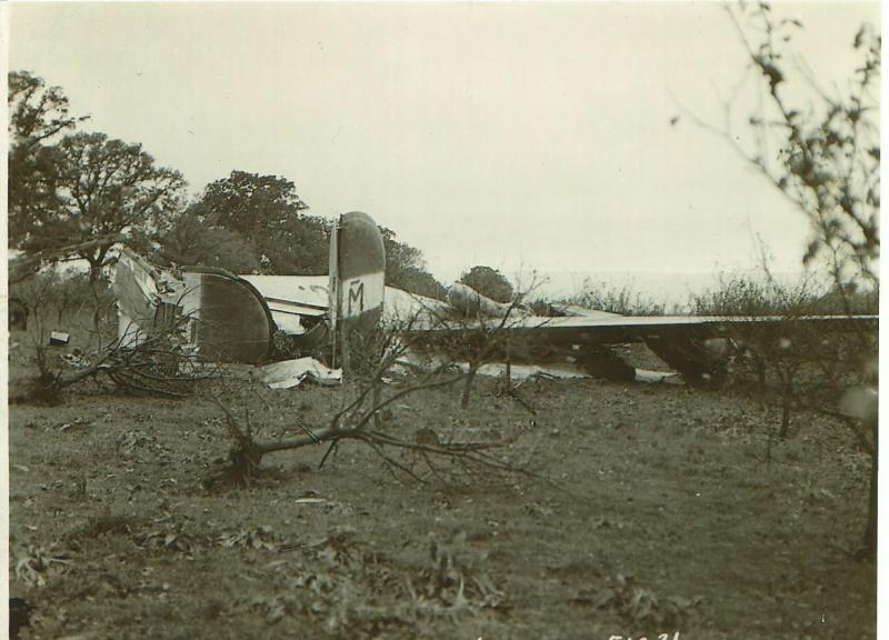 B-24J-1-DT #42-51231  Code:  U8-M 466th BG - 786th BS  Seen in the field where she crashed returning from a mission on 5 November 1944 with the Robert D. Nelson Crew.