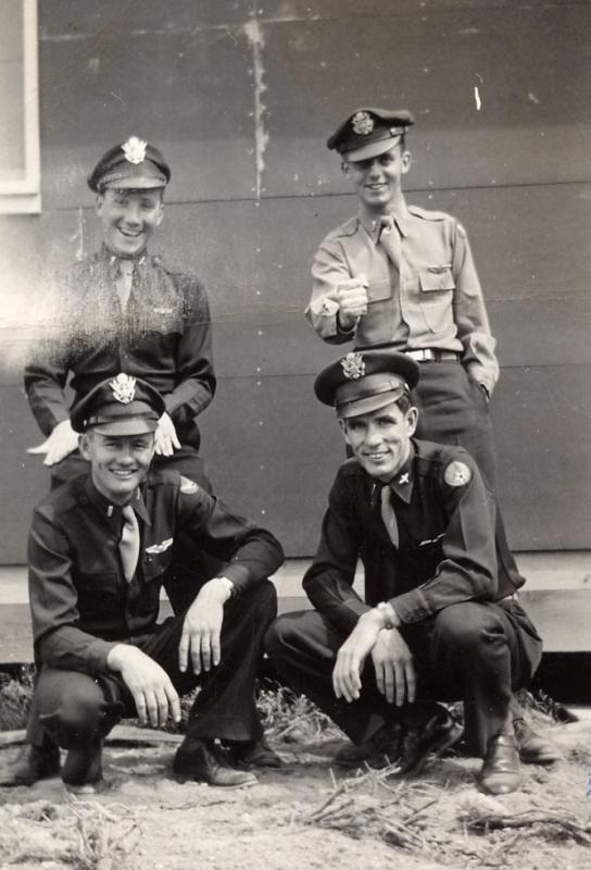 Top Row:    Lt. Seymour Deutsch-Navigator                 Frank McCann-Bombardier Front Row:  Robert M. Neal Co-Pilot                  Arlyss (Duane) Wineinger Pilot  493rd Bomber Group/862nd Bomb Squad Army Air Corps 8th Air Force (The Mighty Eighth)
