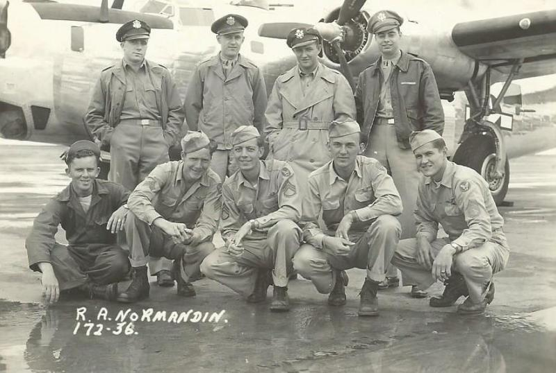 Crew #645/465 Raymond A. Normandin Crew 466th BG - 786th and 784th Bomb Squadrons  Standing Left to Right:  Curtis N. Adamy (N), Raymond Ostolski (B), Arthur C. Weber (CP), Raymond A. Normandin (P)  Kneeling Left to Right:  Miles Henneman (G), William F. Crayne (G), Heber L. Honey (FE), Rudolph Gorisek (G), Robert R. Hill (R/O)  This crew flew 10 missions with the786th BS then transferred to the 784th BS, trained as a lead crew then flew 20 more combat missions as a lead crew to complete their tour.