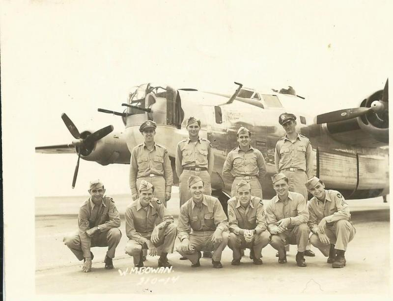 Crew #668 Walter M. Bowen Crew 466th BG - 786th BS  Standing Left to Right:  Walter M. Bowen (P), Arthur J. Dyson (CP), Daniel L. McDermott (B),  John D. Howard (N)  Kneeling Left to Right:  A.H. Wells (WG), William J. Hunter (TG), F.M. Sullivan (R/O), H.A. Ruth (NG), J.M. Nesius (FE), Robert K. Bieber (BTG)  Walter Bowen never got to lead his crew into combat.  He was killed on a training mission on 16 September 1944 when the B-24 he was riding in as an observer collided with another B-24.   Robert W. Svobodny was assigned as pilot and lead this crew for their first 24 missions.  Arthur Dyson then took over and lead the crew for their final 11 combat missions.