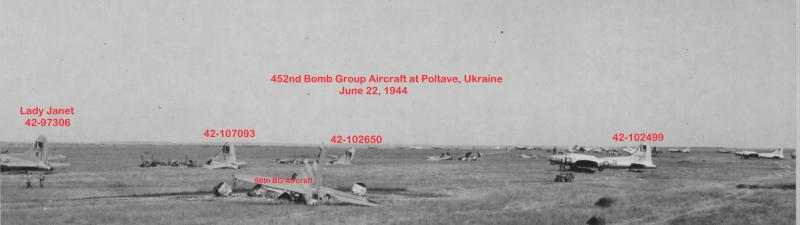 Destroyed B-17s litter the field at Poltava, Ukraine after an unopposed German air strike the night of June 21-22, 1944.