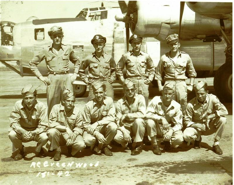 Crew #648 Robert C. Greenwood / Verdun Munroe Cre 466th BG - 786th BS  Standing Left to Right:  Robert C. Greenwood (P), Harry E. Haseman (CP), Terrence H. Crowley (N), Charles D. Welde (B)  Kneeling Left to Right:  Frank Kayden (FE), James A. Ehredt (BTG), S.A. Rieter (R/O), William J. Weisner (LWG), Gerald D. Boles (TG), Dale R. Estle (RWG)  Greenwood was transferred to crew #739 to replace their pilot (Robert W. Harrington) who had been shot down flying with a makeshift crew.  Verdun Munroe took over and was flying when Crew #648 was shot down on 15 August 1944. Haseman, Crowley, Welde, Kayden, Estle and Boles were all KIA.