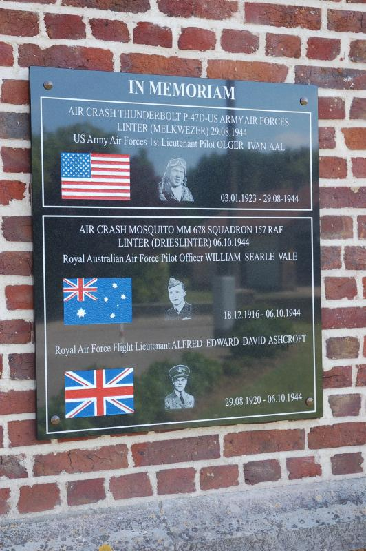 Memorial at the church of Drieslinter in Belgium to the three Allied airmen who died nearby. It was inaugurated on 10 May 2015.  The airmen were First Lieutenant Olger I Aal, the pilot of P-47 44-19580 and the two crew of a Mosquito, Australian pilot William Searle Vale, 27, and Flight Lieutenant Alfred E D Ashcroft, 24, a navigator and wireless operator from Surrey.