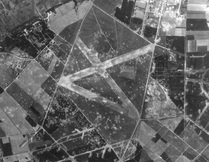 Strike photo of Venlo Airfield, Netherlands Would become Y-55 Venlo after the Americans captured it in 1944.