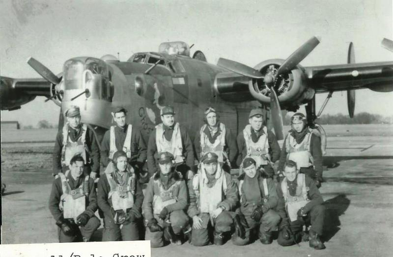 Crew #467A William A. Dale Crew  Standing Left to Right:  Odis Dean (R/O), Jerry True (NG), Charles Niewojna (WG), Virgil Tally (TG), John Sabo (BTG), Ed Rossi (FE)  Kneeling Left to Right:  Arthur Kadner (CP), William A. Dale (P), Lawrence Stoff (B), John Chemoke (N), unidentified person  All of this crew except for Kadner and Dale had originally been Crew #735 - Thomas Harrell Crew.  Harrell was promoted to a squadron level position, and the original co-pilot, Richard S. Hulette, was given his own crew (Crew #775.)  The rest of the crew went through lead crew training and became the William Dale Crew