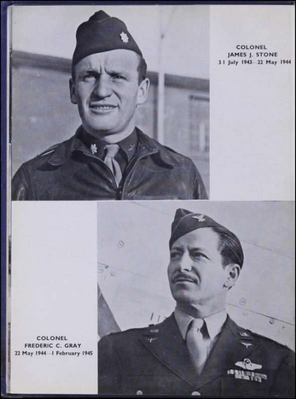 Page 48 of the Duxford Diary.  Many of the 8th Air Force Groups produced an unofficial unit history in the months after the war ended in Europe but before they were redeployed out of the ETO ('European Theater of Operations'). The Duxford Diary was the book created by and for the service personnel who were based at Duxford at the end of the war in Europe, as a memento of their time at the airfield.  Resembling a college yearbook, unit histories were an unofficial – and often tongue-in-cheek – record of the unit's time in the UK. They include photo montages showing different aspects of base life. Often the servicemen in the photos are unnamed. The American Air Museum hopes that by adding unit histories to the website as individual pages, the men in the photos will be identified and associated to their person entries.