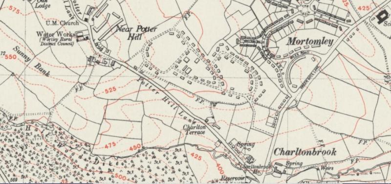 Reproduced by kind permission of Ordnance Survey, 6 inch series, Yorkshire CCLXXXII.SE (includes: Ecclesfield; Tankersley; Wentworth; Wortley.)  Revised: 1948  Published: 1949.