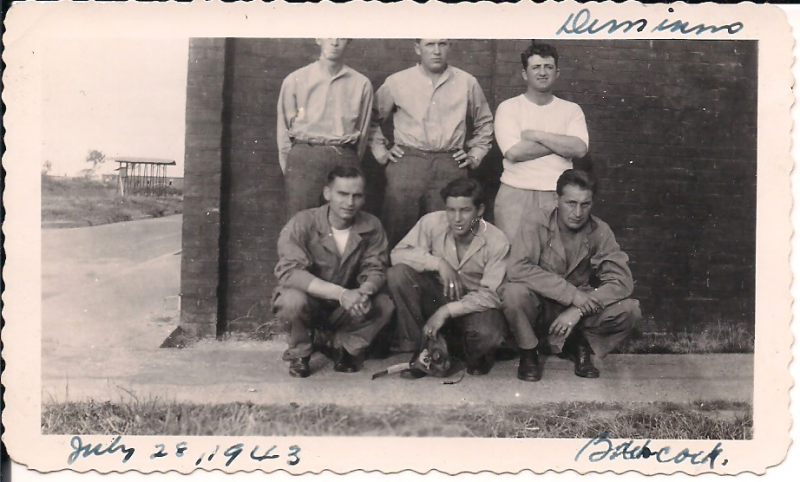 Left to right back row: Jarvis Allen, Gerald Tucker, Al DiMinno. Front row: Victor Ciganek, Rudy Thigpen, James Bowcock. Photo taken after B-17 #42-3119 ditched into the North Sea on July 26, 1943.