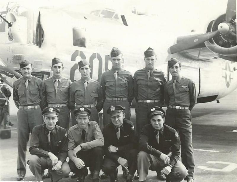 Crew #782/490 Jack H. Hague Crew 466th BG - 787th and 784th Bomb Squadrons  Standing Left to Right: John H. Bordagaray (G), William C. Keiper (R/O), Jesse C. LeBlanc (FE), John A. Brockman (G), Kenneth M. Anderson (G), Leonard Badolate (G)  Kneeling Left to Right:  Jack H. Hague (P), Edward H. Jones (CP), James Denny (N), James L. Valentine (B)  Denny didn't fly combat with the crew.  He was replaced by David W. Levy.   This crew flew six missions with the 787th BS and then trained as a lead crew and flew five additional missions in that capacity with the 784th BS.   21 January 1945 - 28 February 1945 - 787th BS tour 17 Mach 1945 - 18 April 1945 - 784th BS tour