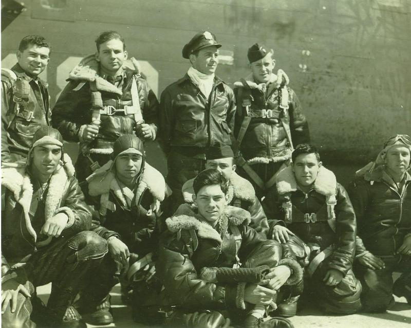 Crew #533 Morgan K. Cox Crew 466th BG - 785th BS  Standing Left Right:  Arthur S. Bass (B), Roger C. Neely (CP),  Morgan K. Cox (P), Martin Bredvik (N)  Kneeling Left to Right:  Fred J. Worth (G), Robert F. Turk (G), Richard D. Barrickman (FE), Walter T. Schaeffer (TG), Abe S. Frost (BTG) Sitting in front:  Norman H. Boehm (R/O)  This crew completed a 32 mission combat tour: 5 June 1944 - 24 August 1944