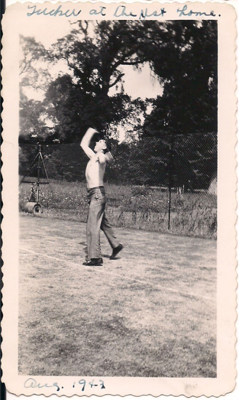 Gerald Tucker playing tennis at the rest home after crew of Destiny's Tot ditched  #42-3119 into the North Sea on July 26. 1943. Photo taken August 1943.